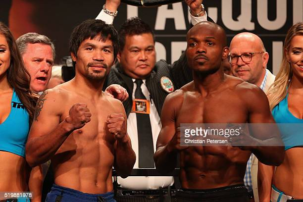 Manny Pacquiao and Timothy Bradley Jr pose during their official weighin at MGM Grand Garden Arena on April 8 2016 in Las Vegas Nevada The two will...