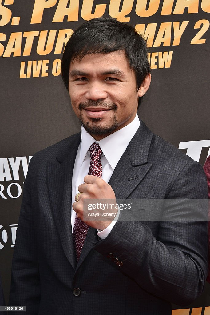 <a gi-track='captionPersonalityLinkClicked' href=/galleries/search?phrase=Manny+Pacquiao&family=editorial&specificpeople=3855506 ng-click='$event.stopPropagation()'>Manny Pacquiao</a> attends a press conference at Nokia Theatre L.A. Live on March 11, 2015 in Los Angeles, California.