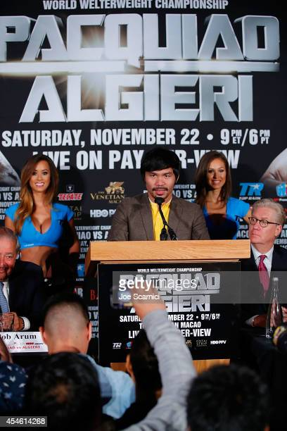 Manny Pacquiao attends the Manny Pacquiao v Chris Algieri Media Tour at The Liberty Theatre on September 4 2014 in New York City
