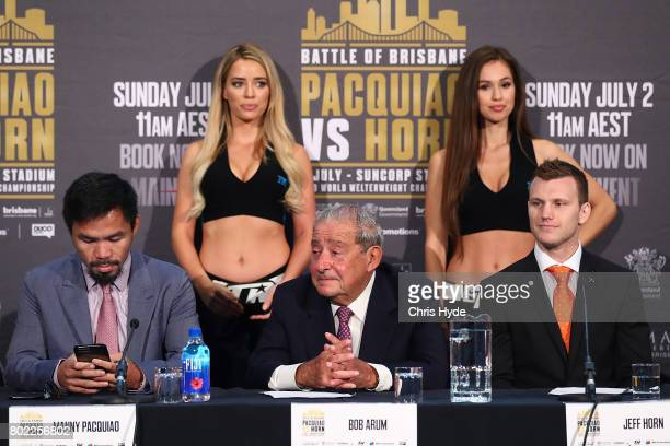 Manny Pacquiao Bob Arum and Jeff Horn during the official press conference for WBO World Welterweight Championship at Suncorp Stadium on June 28 2017...