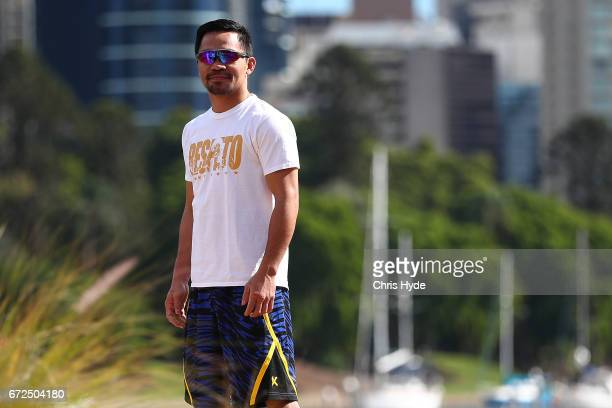 Manny Pacquiao during a visit to Kangaroo Point Pacquiao is in Australia to promote his upcoming fight with Australian Jeff Horn on April 25 2017 in...