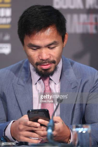 Manny Pacquiao during the official Pacquiao Vs Horn press conference for WBO World Welterweight Championship at Suncorp Stadium on June 28 2017 in...