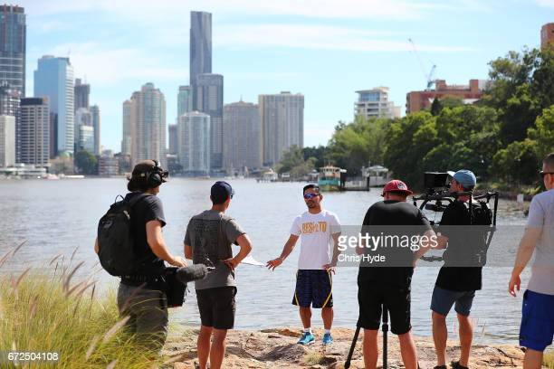 Manny Pacquiao filming during a visit to Kangaroo Point Pacquiao is in Australia to promote his upcoming fight with Australian Jeff Horn on April 25...