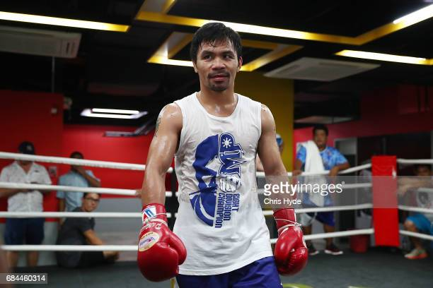 Manny Pacquiao looks on during a training session at Elorde boxing Gym on May 19 2017 in Manila Philippines