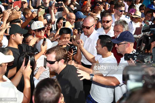Manny Pacquiao meets the crowd during a visit to South Bank Pacquiao is in Australia to promote his upcoming fight with Australian Jeff Horn on April...