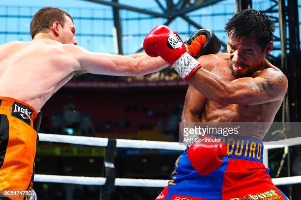 Manny Pacquiao of the Philippines fight Jeff Horn of Australia during the World Boxing Organization bout at Suncorp Stadium in Brisbane on July 2...