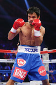 Manny Pacquiao of the Philippines in the ring against Chris Algieri of the United States during the WBO world welterweight title at The Venetian on...