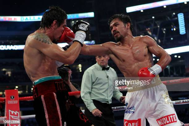 Manny Pacquiao of the Philippines lands a punch against Antonio Margarito of Mexico during their WBC World Super Welterweight Title bout at Cowboys...