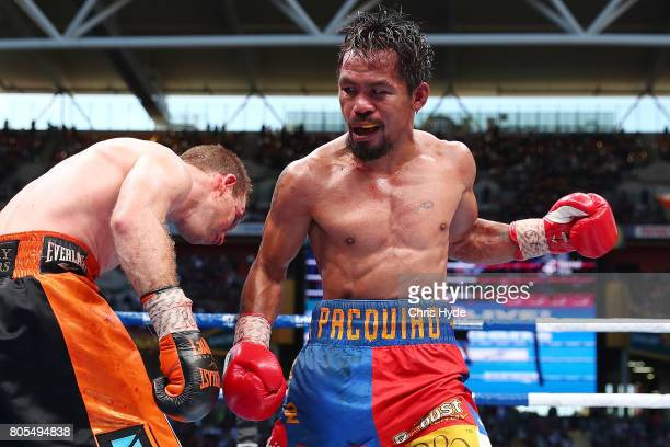 Manny Pacquiao of the Philippines punches Jeff Horn of Australia during the WBO World Welterweight Title Fight at Suncorp Stadium on July 2 2017 in...
