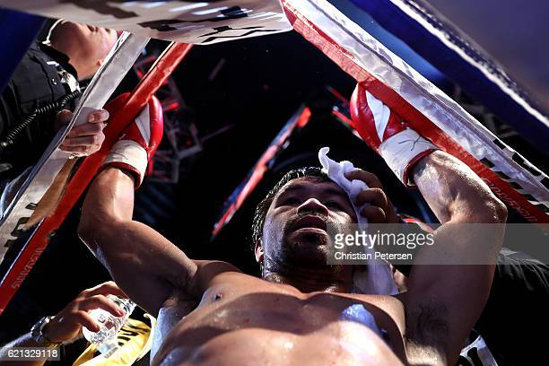Manny Pacquiao of the Philippines reacts after the conclusion of his WBO welterweight championship fight against Jessie Vargas at the Thomas Mack...