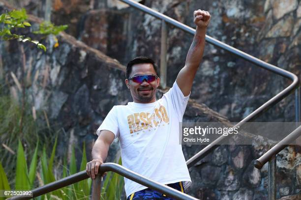 Manny Pacquiao poses during a visit to Kangaroo Point Pacquiao is in Australia to promote his upcoming fight with Australian Jeff Horn on April 25...