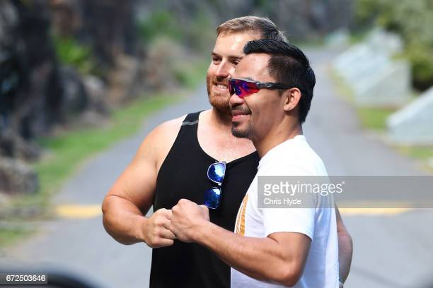 Manny Pacquiao poses with fans during a visit to Kangaroo Point Pacquiao is in Australia to promote his upcoming fight with Australian Jeff Horn on...