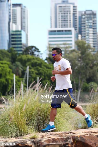 Manny Pacquiao runs during a visit to Kangaroo Point Pacquiao is in Australia to promote his upcoming fight with Australian Jeff Horn on April 25...