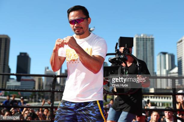 Manny Pacquiao shadow boxes during a visit to South Bank Pacquiao is in Australia to promote his upcoming fight with Australian Jeff Horn on April 25...