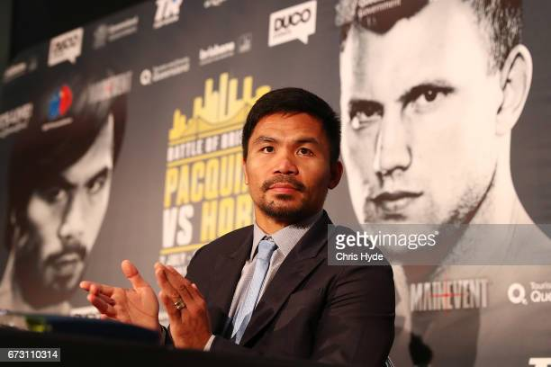 Manny Pacquiao speaks to the media during a press conference at Suncorp Stadium on April 26 2017 in Brisbane Australia