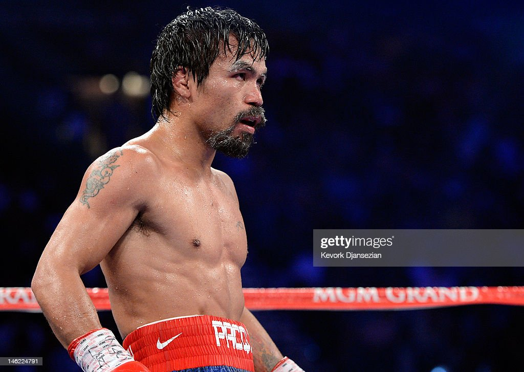 Manny Pacquiao stands in the ring during his fight against Timothy Bradley at MGM Grand Garden Arena on June 9 2012 in Las Vegas Nevada