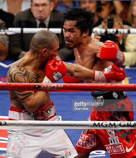 Manny Pacquiao throws a left to the head of Miguel Cotto during their WBO welterweight title fight at the MGM Grand Garden Arena on November 14 2009...