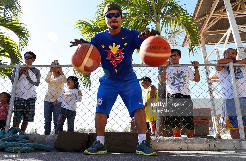 <a gi-track='captionPersonalityLinkClicked' href=/galleries/search?phrase=Manny+Pacquiao&family=editorial&specificpeople=3855506 ng-click='$event.stopPropagation()'>Manny Pacquiao</a> trains at Pedro Acharon Sports Complex on January 28, 2016 in General Santos, Philippines. Pacquiao faces Timothy Bradley in the world welterweight championship bout at the MGM Grand casino on April 9 in Las Vegas.