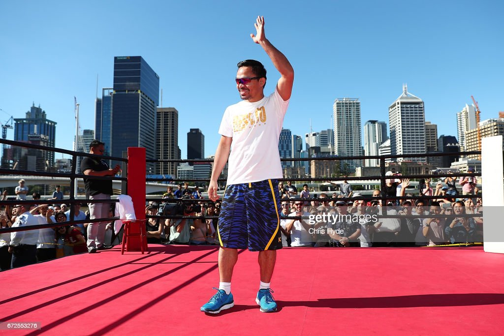 Manny Pacquiao waves to the crowd during a visit to South Bank. Pacquiao is in Australia to promote his upcoming fight with Australian Jeff Horn on April 25, 2017 in Brisbane, Australia.