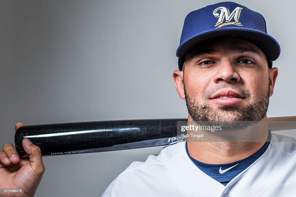 Manny Pina #67 of the Milwaukee Brewers poses during photo day at the Maryvale sports complex on February 26, 2016 in Maryvale, Arizona.