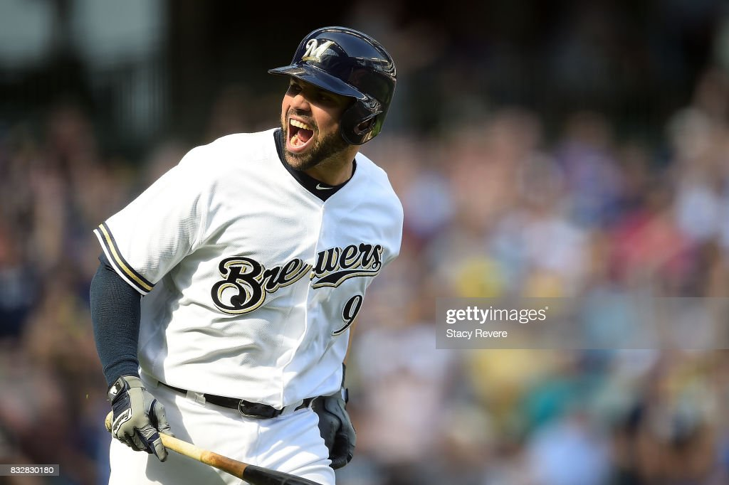 Manny Pina #9 of the Milwaukee Brewers reacts to a two run home run during the eighth inning of a game against the Pittsburgh Pirates at Miller Park on August 16, 2017 in Milwaukee, Wisconsin.