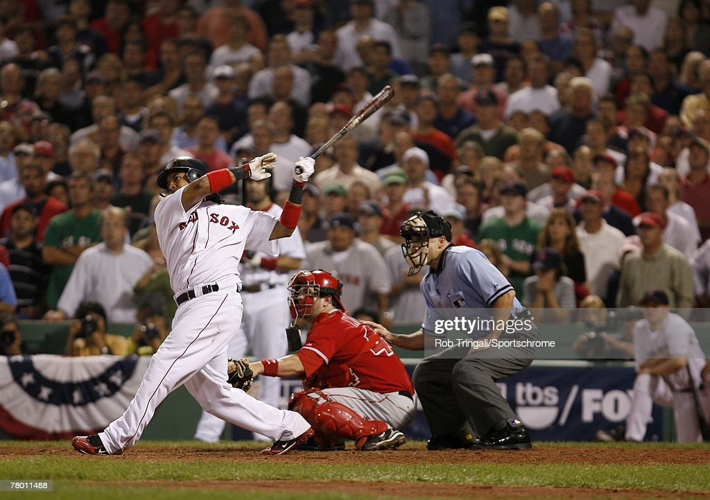 Manny Ramirez 24 Of The Boston Red Sox Hits A Walk Off Game Winning