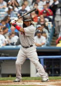 Manny Ramirez of the Boston Red Sox stands ready at bat against the New York Yankees at Yankee Stadium on April 29 2007 in the Bronx borough of New...