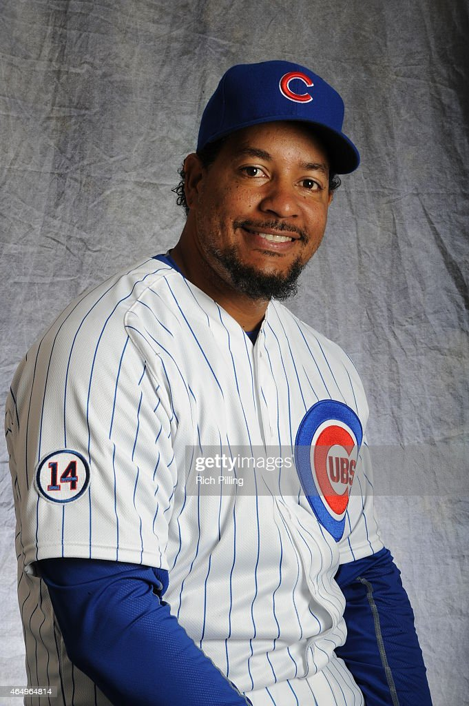 Manny Ramirez #24 of the Chicago Cubs poses for a portrait during Photo Day on March 2, 2015 at Sloan Park in Mesa, Arizona.