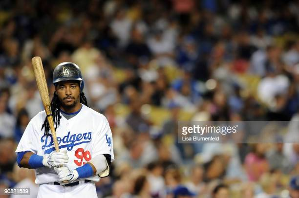 Manny Ramirez of the Los Angeles Dodgers at bat against the Pittsburgh Pirates at Dodger Stadium on September 15 2009 in Los Angeles California