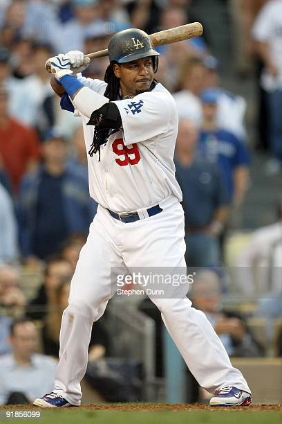 Manny Ramirez of the Los Angeles Dodgers at bat against the St Louis Cardinals in Game Two of the NLDS during the 2009 MLB Playoffs at Dodger Stadium...