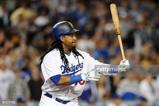 Manny Ramirez of the Los Angeles Dodgers at bat during the game against the Pittsburgh Pirates at Dodger Stadium on September 15 2009 in Los Angeles...