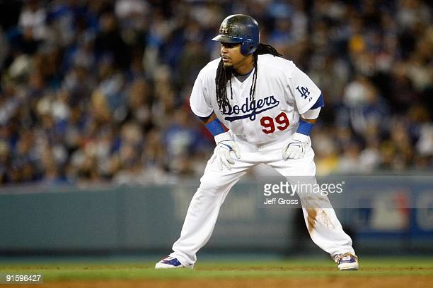 Manny Ramirez of the Los Angeles Dodgers looks on while on base against the St Louis Cardinals in Game One of the NLDS during the 2009 MLB Playoffs...