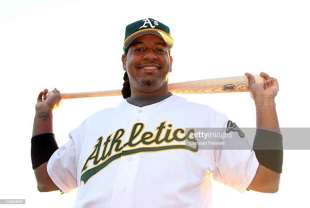 Manny Ramirez of the Oakland Athletics poses for a portrait during spring training photo day at Phoenix Municipal Stadium on February 27, 2012 in Phoenix, Arizona.