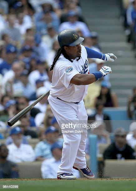 Manny Ramirez of the the Los Angeles Dodgers hits a lead off home run in the fourth inning against the Arizona Diamondbacks on April 13 2010 at...