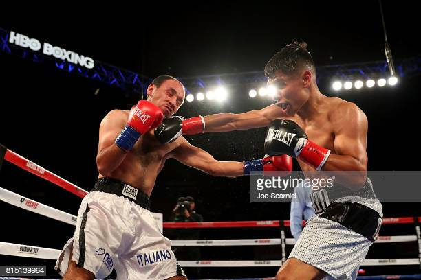 Manny Robles Jr connects a right hook to Christian Esquivel in the second round at The Forum on July 15 2017 in Inglewood California