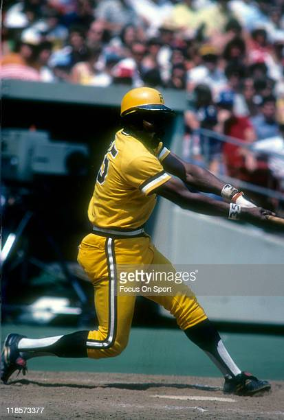 Manny Sanguillen of the Pittsburgh Pirates bats during a Major League Baseball game circa 1979 at Three Rivers Stadium in Pittsburgh Pennsylvania...