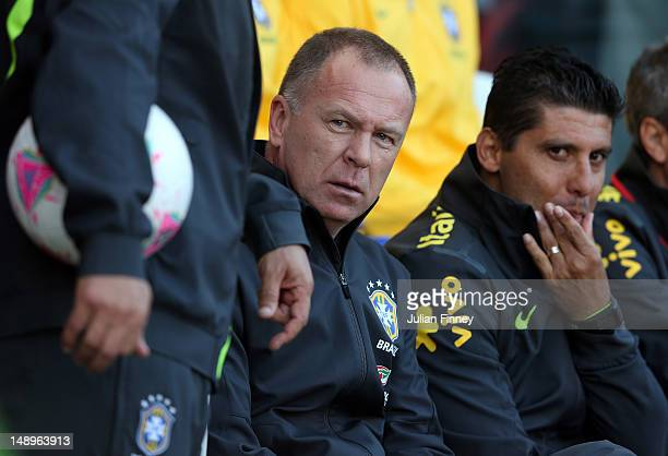 Mano Menezes coach of Brazil looks on during the international friendly match between Team GB and Brazil at Riverside Stadium on July 20 2012 in...