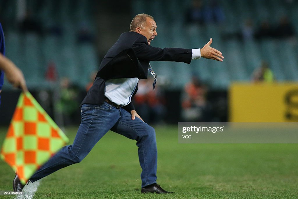 Mano Menezes, head coach of Shandong Luneng celebrates crazily at the conclusion of the AFC Champions League match between Sydney and Shandong Luneng at Allianz Stadium on May 24, 2016 in Sydney, Australia.