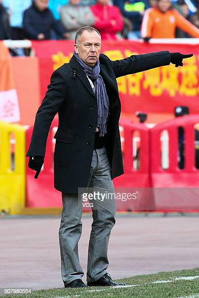 Mano Menezes head coach of Shandong Luneng looks on during the 2016 AFC Champions League qualifying match between Shandong Luneng and Mohun Bagan at...