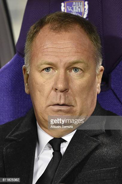 Mano Menezes head coach of Shandong Luneng Taishan looks on during the AFC Champions League Group F match between Sanfrecce Hiroshima and Shandong...