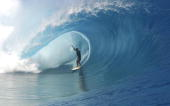Manoa Drollet of Tahiti rides the tube April 30 2003 at Teahupoo Tahiti French Polynesia Three wildcards will be awarded to the top two placed...
