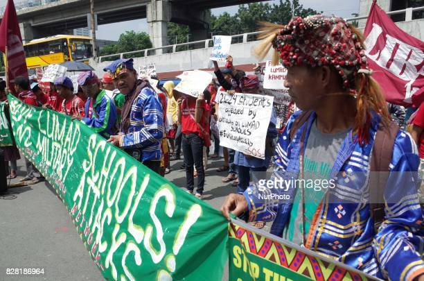 Manobo indigenous peoples attend a rally coinciding the International Day of the World's Indigenous Peoples outside Camp Aguinaldo in Quezon City on...