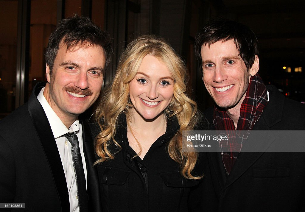 Manoel Felciano, Betsy Wolfe and Andrew Samonsky pose backstage at 'Ragtime' on Broadway at Avery Fisher Hall on February 18, 2013 in New York City.