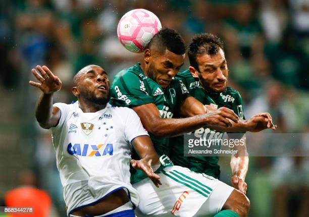 Manoel of Cruzeiro Miguel Borja of Palmeiras and Edu Dracena of Palmeiras in action during the match between Palmeiras and Cruzeiro for the...