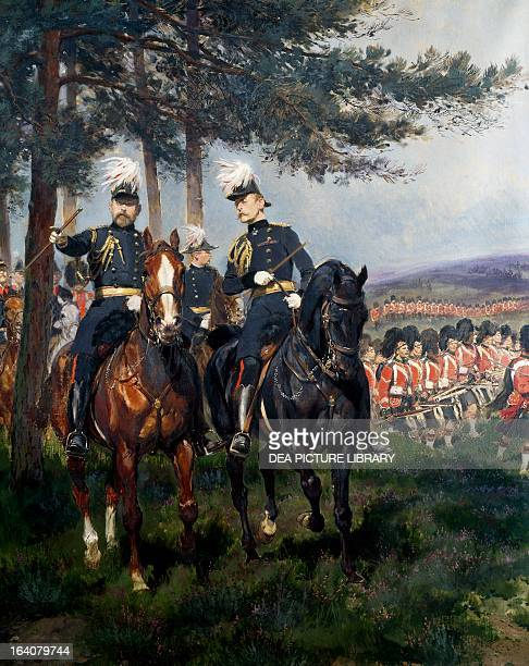 Manoeuvres at Aldershot British military manoeuvres with the Duke of Cambridge watching the advance of a highland regiment ca 1900 by Jean Baptiste...