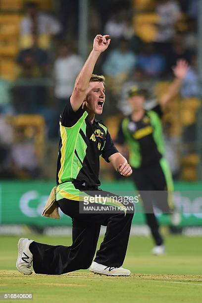 Manofthematch Australian bowler Adam Zampa appeals to the umpire during the World T20 cricket tournament match between Australia and Bangladesh at...
