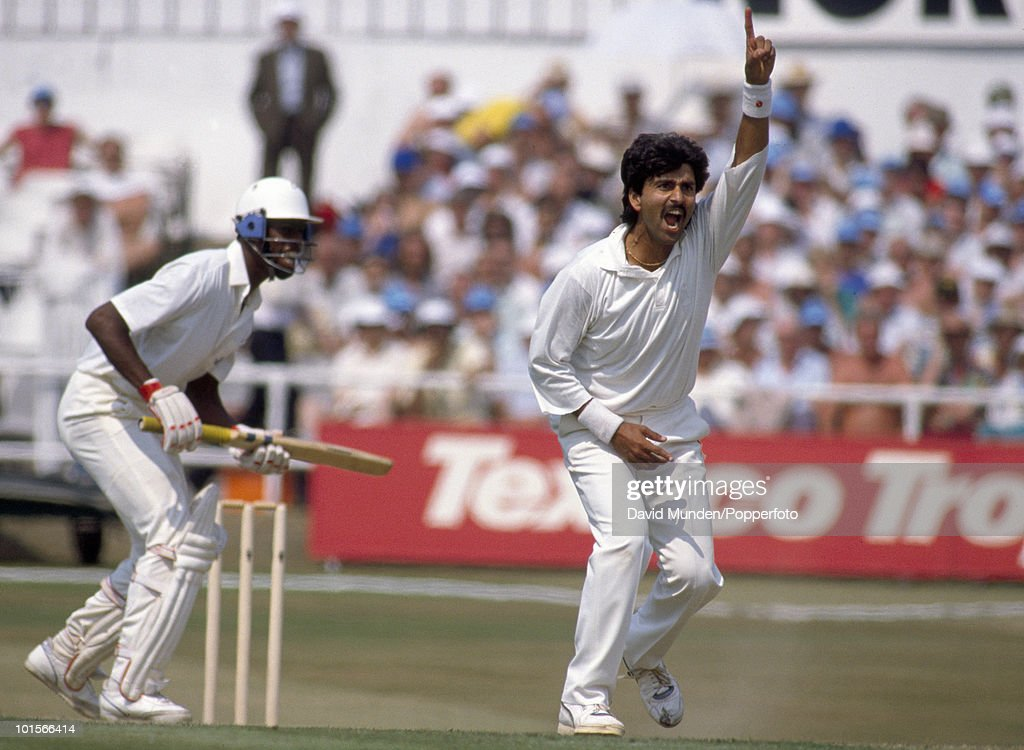 Manoj Prabhakar successfully appeals for LBW against England batsman Chris Lewis who is out for 6 during the 1st Texaco Trophy One Day International match between England and India at Headingley in Leeds, 18th July 1990. India won by 6 wickets.