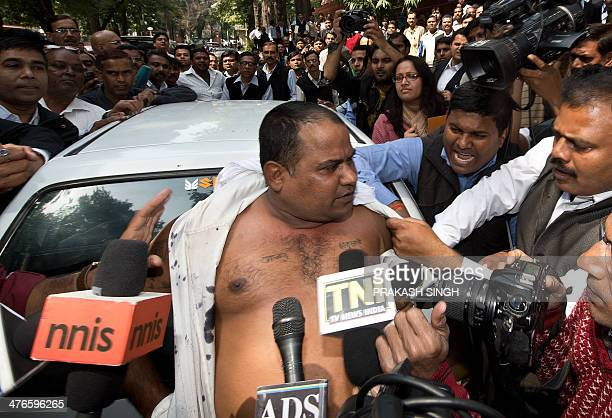 Manoj Sharma who allegedly threw black ink at India's Sahara group chairman Subrata Roy on his arrival at the Supreme Court speaks to the media in...