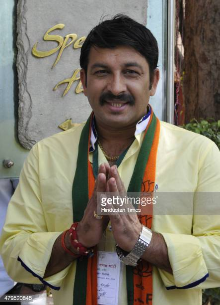 Manoj Tiwari Bhojpuri singeractor and BJP candidate from North East constituency for the 2014 Lok Sabha election during his interaction with the...
