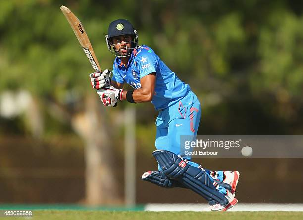 Manoj Tiwary of India 'A' bats during the Cricket Australia Quadrangular Series Final match between Australia 'A' and India 'A' at Marrara Oval on...